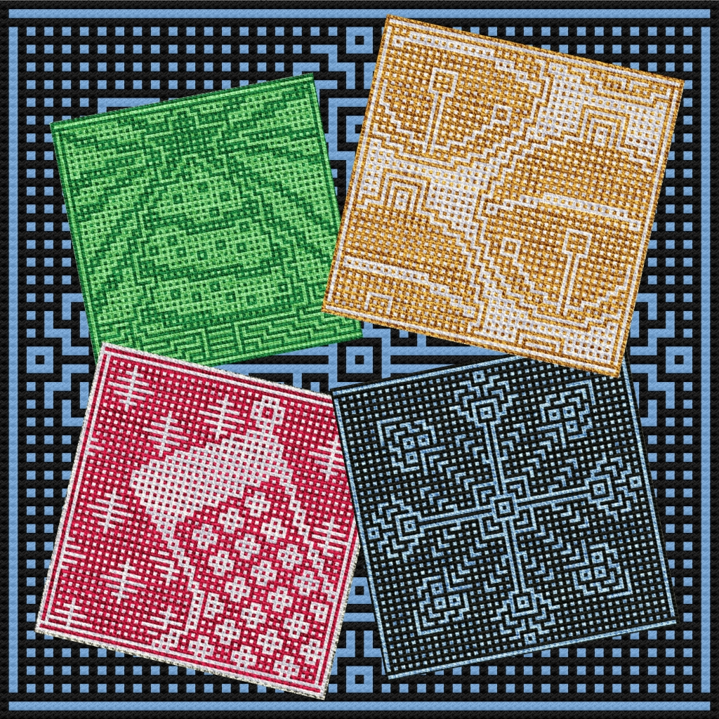 An image of the first four patterns published in my 2020 Holiday eBook