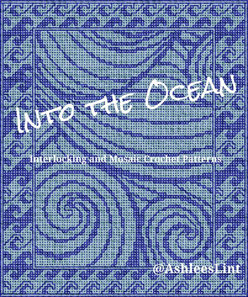 "Mockup of ""Into the Ocean"" blanket. Blue on blue swirling waves"