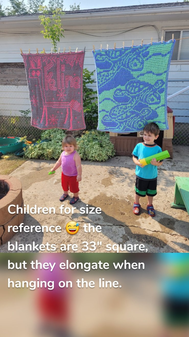 """Children for size reference 😅 the blankets are 33"""" square, but they elongate when hanging on the line."""